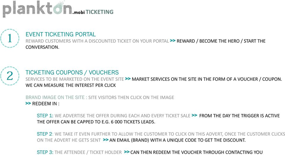 WE CAN MEASURE THE INTEREST PER CLICK BRAND IMAGE ON THE SITE : SITE VISITORS THEN CLICK ON THE IMAGE >> REDEEM IN : STEP 1: WE ADVERTISE THE OFFER DURING EACH AND EVERY TICKET SALE >> FROM THE DAY