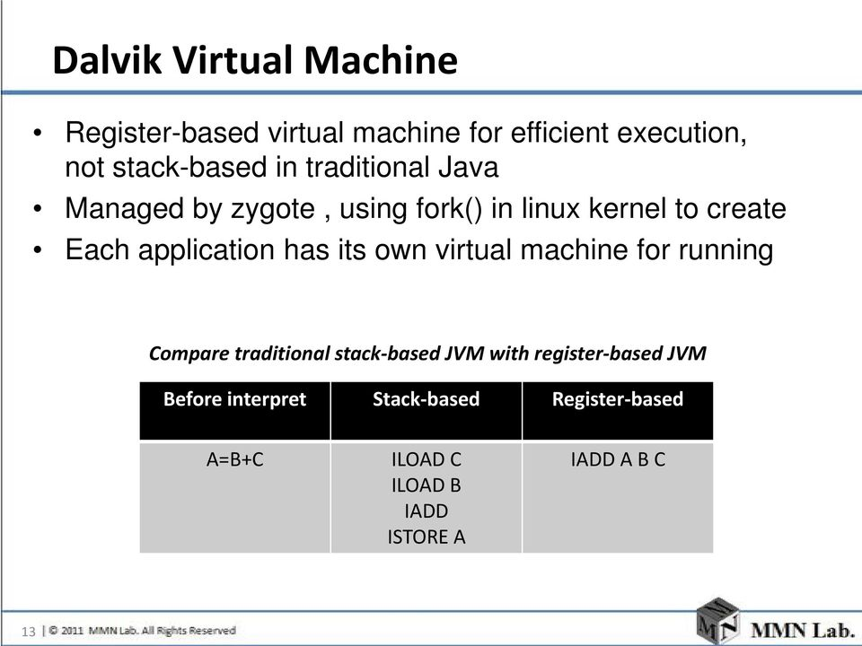 has its own virtual machine for running Compare traditional stack-based JVM with register-based