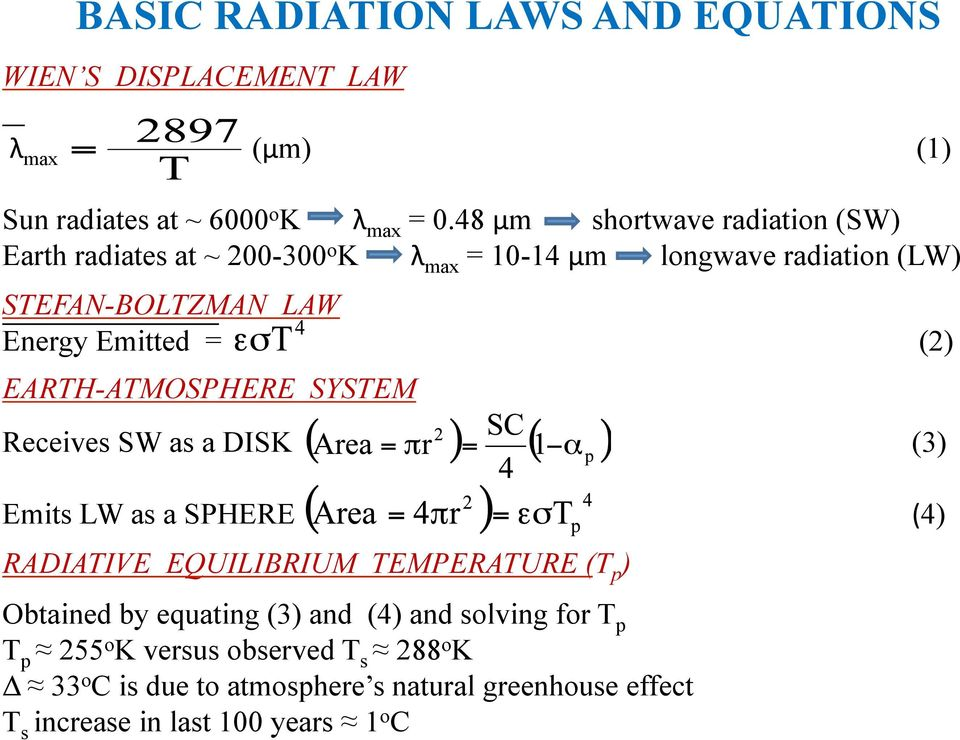 = (2) EARTH-ATMOSPHERE SYSTEM Receives SW as a DISK (3) Emits LW as a SPHERE RADIATIVE EQUILIBRIUM TEMPERATURE (T p ) (4) Obtained by