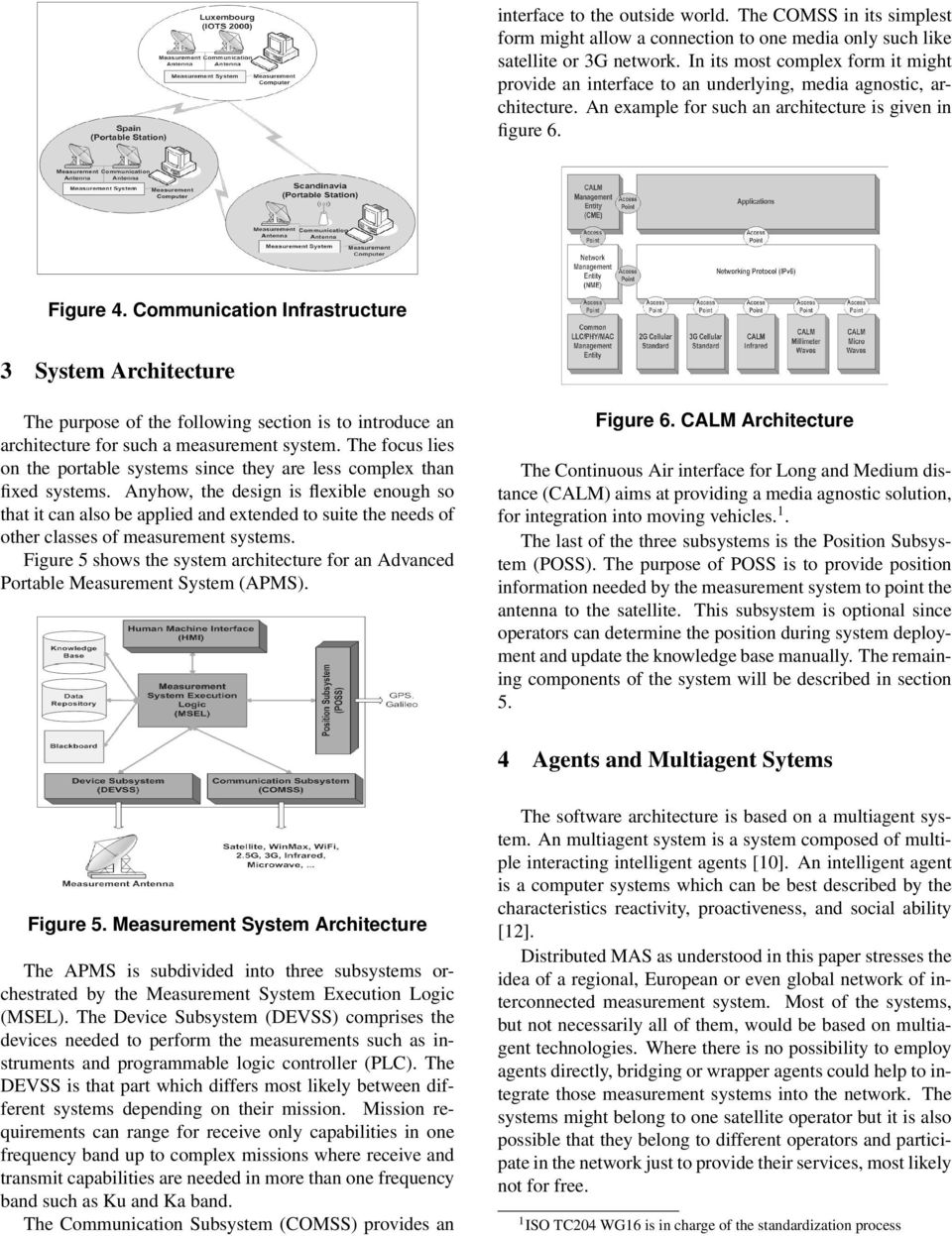 Communication Infrastructure 3 System Architecture The purpose of the following section is to introduce an architecture for such a measurement system.