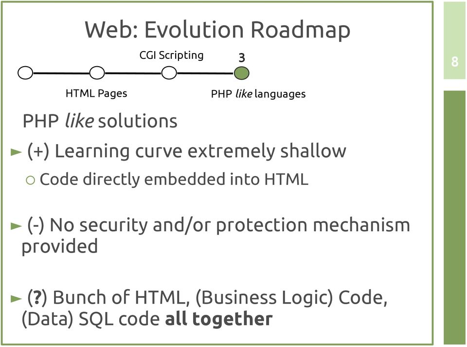 embedded into HTML (-) No security and/or protection mechanism