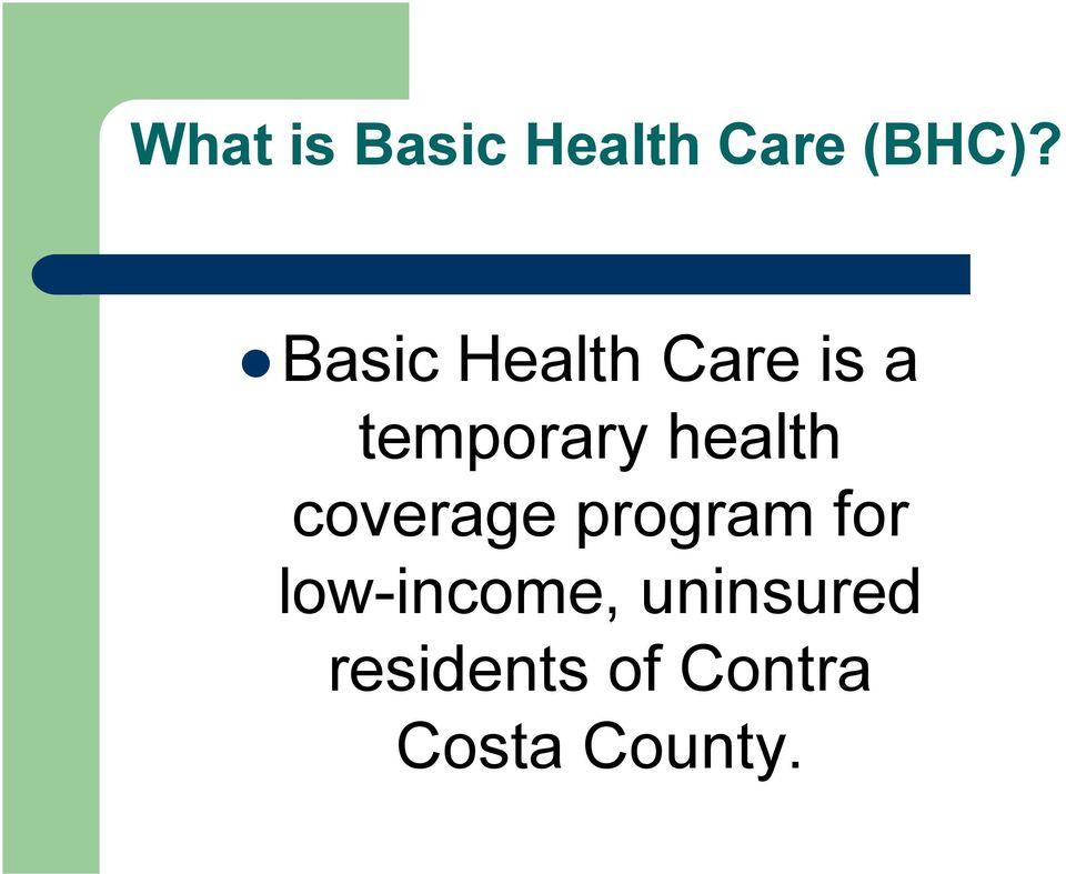 health coverage program for