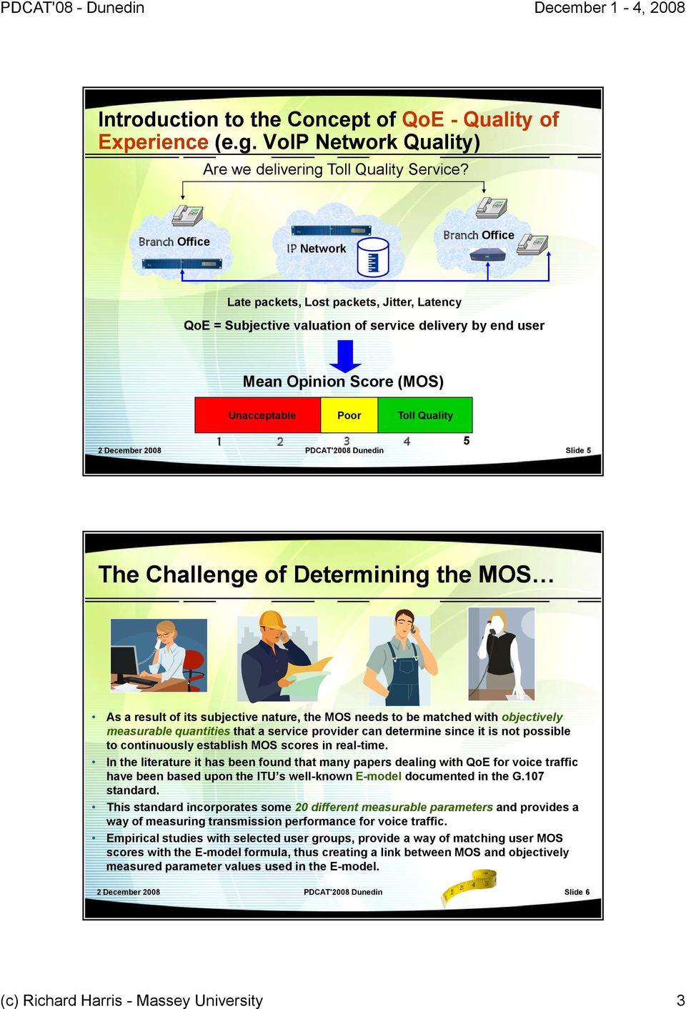 2 3 PDCAT'2008 Dunedin Slide 5 4 5 The Challenge of Determining the MOS As a result of its subjective nature, the MOS needs to be matched with objectively measurable quantities that a service