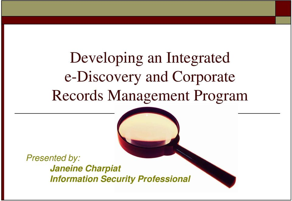 Management Program Presented by: