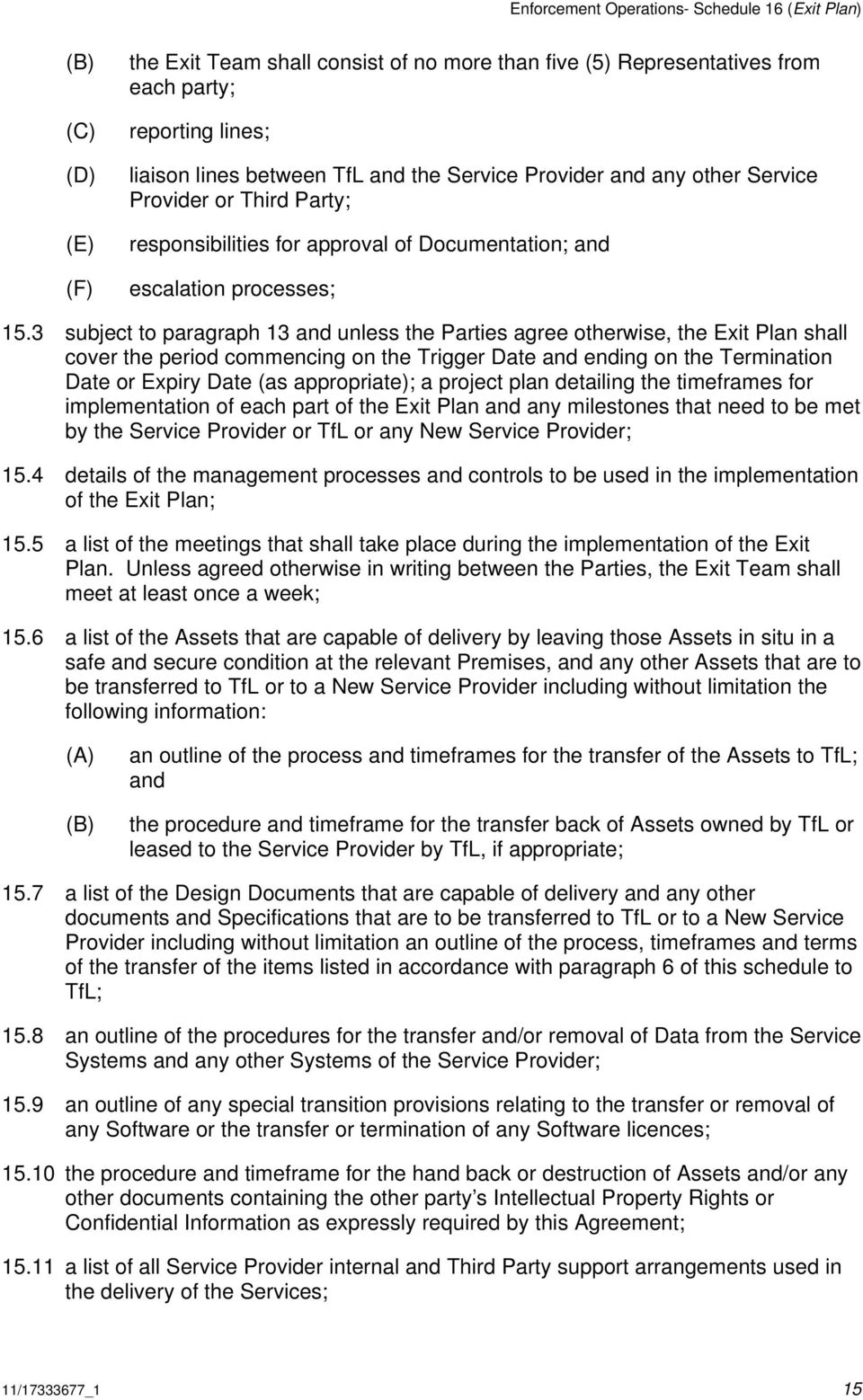 3 subject to paragraph 13 and unless the Parties agree otherwise, the Exit Plan shall cover the period commencing on the Trigger Date and ending on the Termination Date or Expiry Date (as