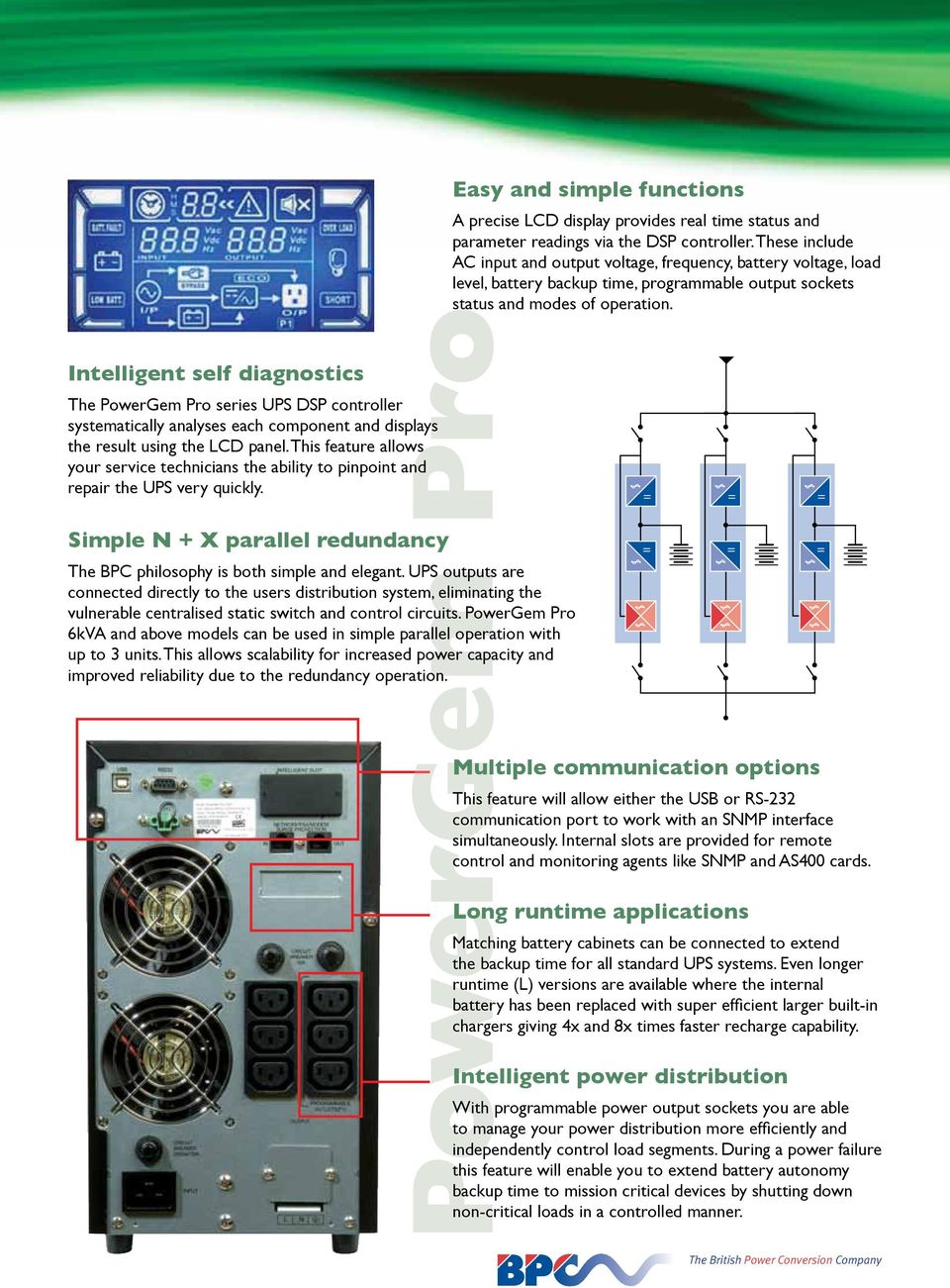 Powergem Pro Uninterruptible Power Supply Pdf Phase Ups Pure Sine Wave Schematic Diagram Datasheet Circuit Outputs Are Connected Directly To The Users Distribution System Eliminating Vulnerable Centralised Static