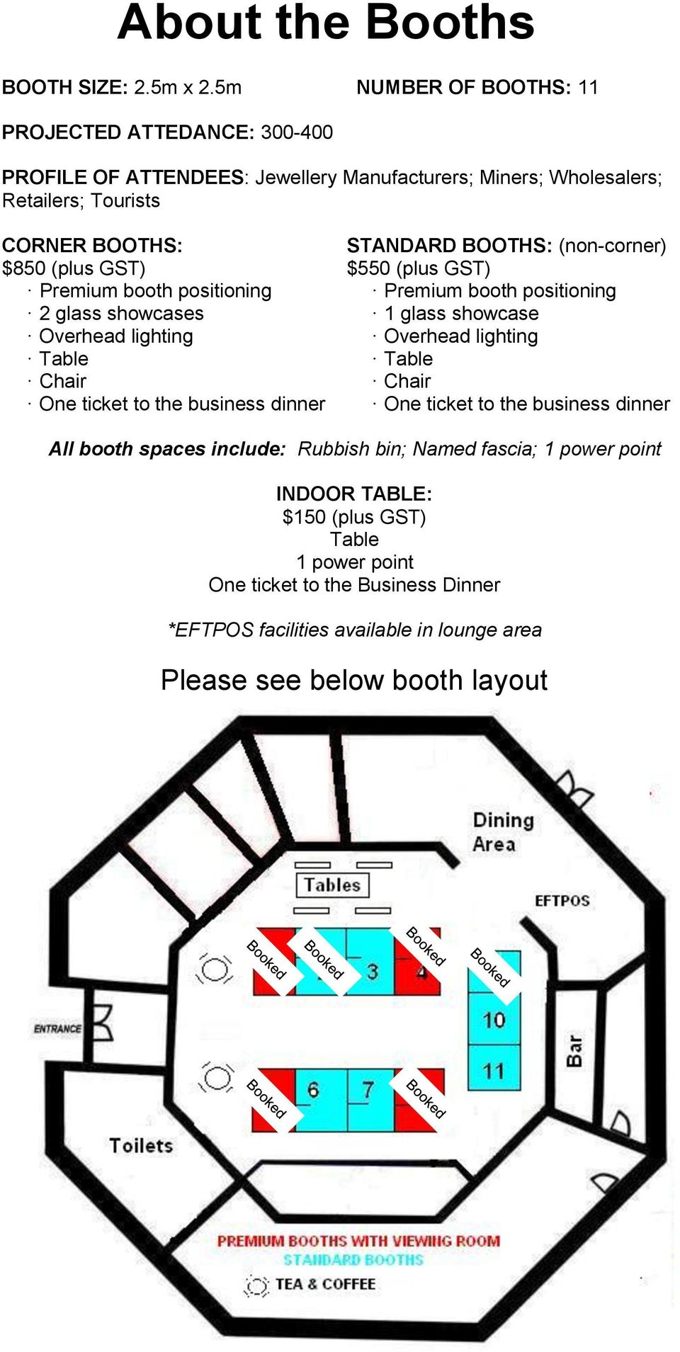 Premium booth positioning 2 glass showcases Overhead lighting Table Chair One ticket to the business dinner STANDARD BOOTHS: (non-corner) $550 (plus GST) Premium booth