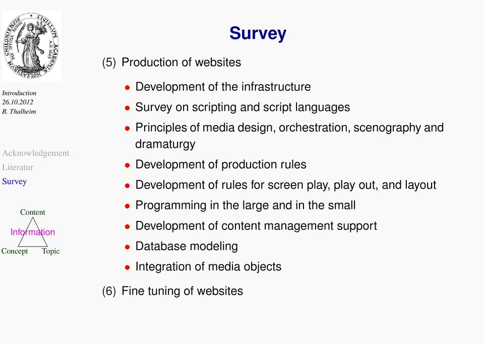 Development of rules for screen play, play out, and layout Programming in the large and in the small