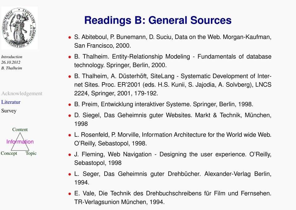 Springer, Berlin, 1998. D. Siegel, Das Geheimnis guter Websites. Markt & Technik, München, 1998 L. Rosenfeld, P. Morville, Architecture for the World wide Web. O Reilly, Sebastopol, 1998. J.