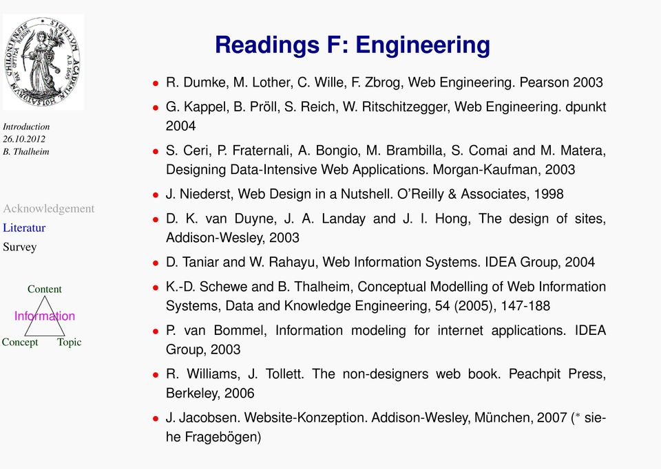 I. Hong, The design of sites, Addison-Wesley, 2003 D. Taniar and W. Rahayu, Web Systems. IDEA Group, 2004 K.-D.