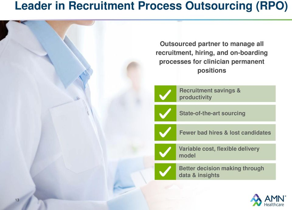 Recruitment savings & productivity State-of-the-art sourcing Fewer bad hires & lost