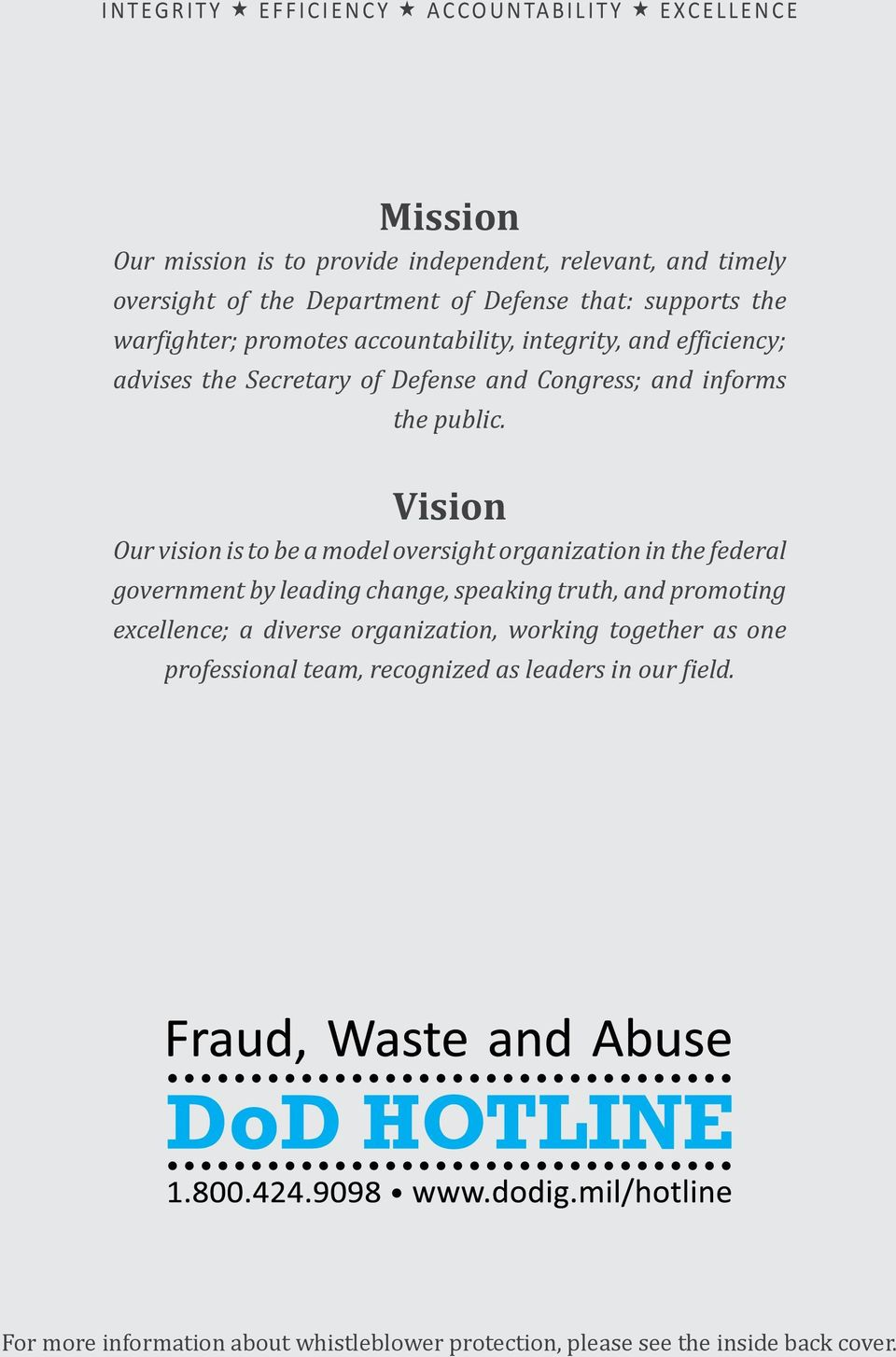 Vision Our vision is to be a model oversight organization in the federal government by leading change, speaking truth, and promoting excellence; a diverse