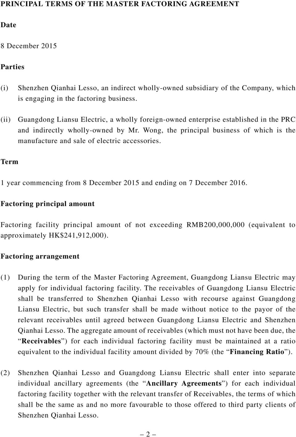 Wong, the principal business of which is the manufacture and sale of electric accessories. Term 1 year commencing from 8 December 2015 and ending on 7 December 2016.