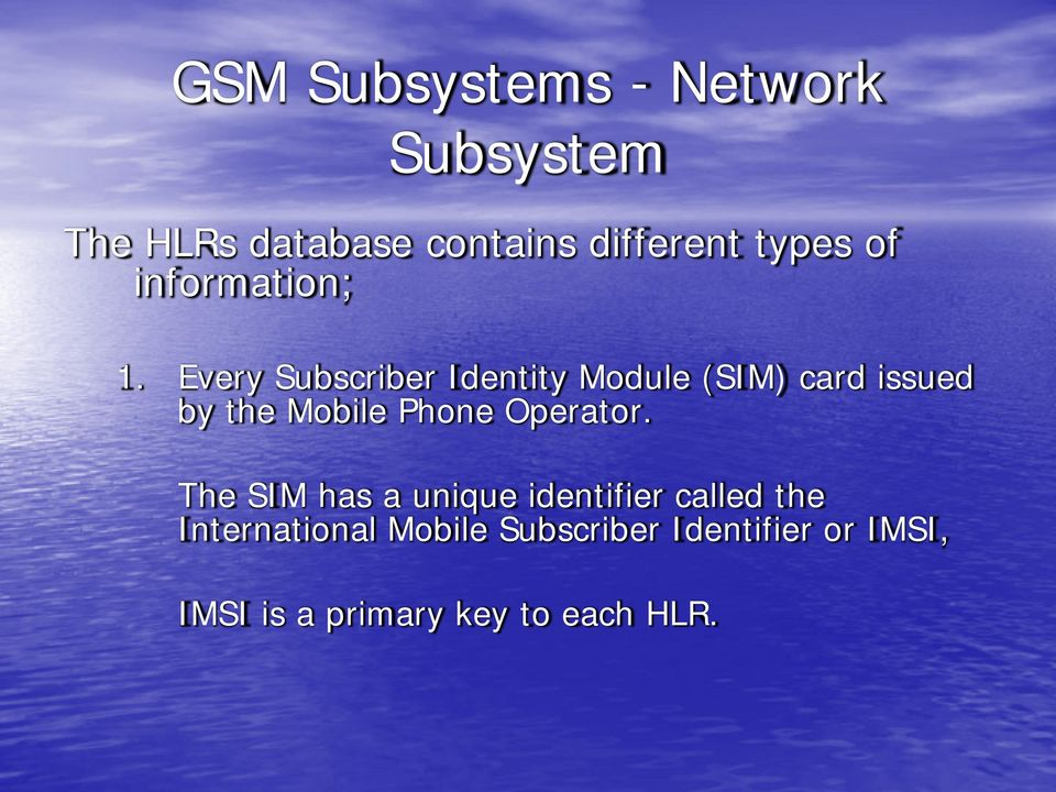Every Subscriber Identity Module (SIM) card issued by the Mobile Phone