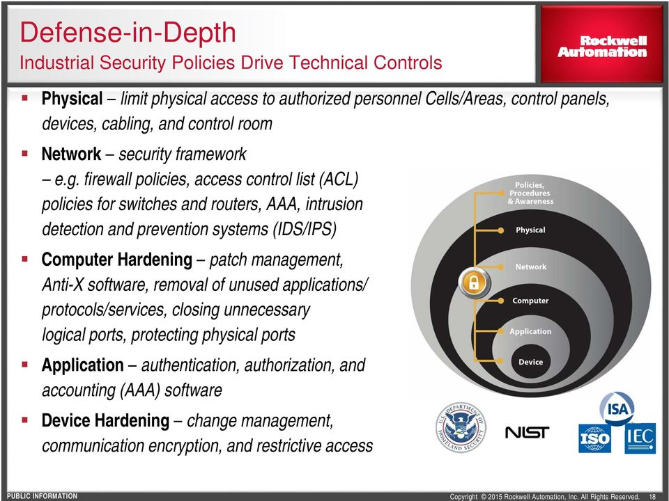 and control room Network security framework e.g.