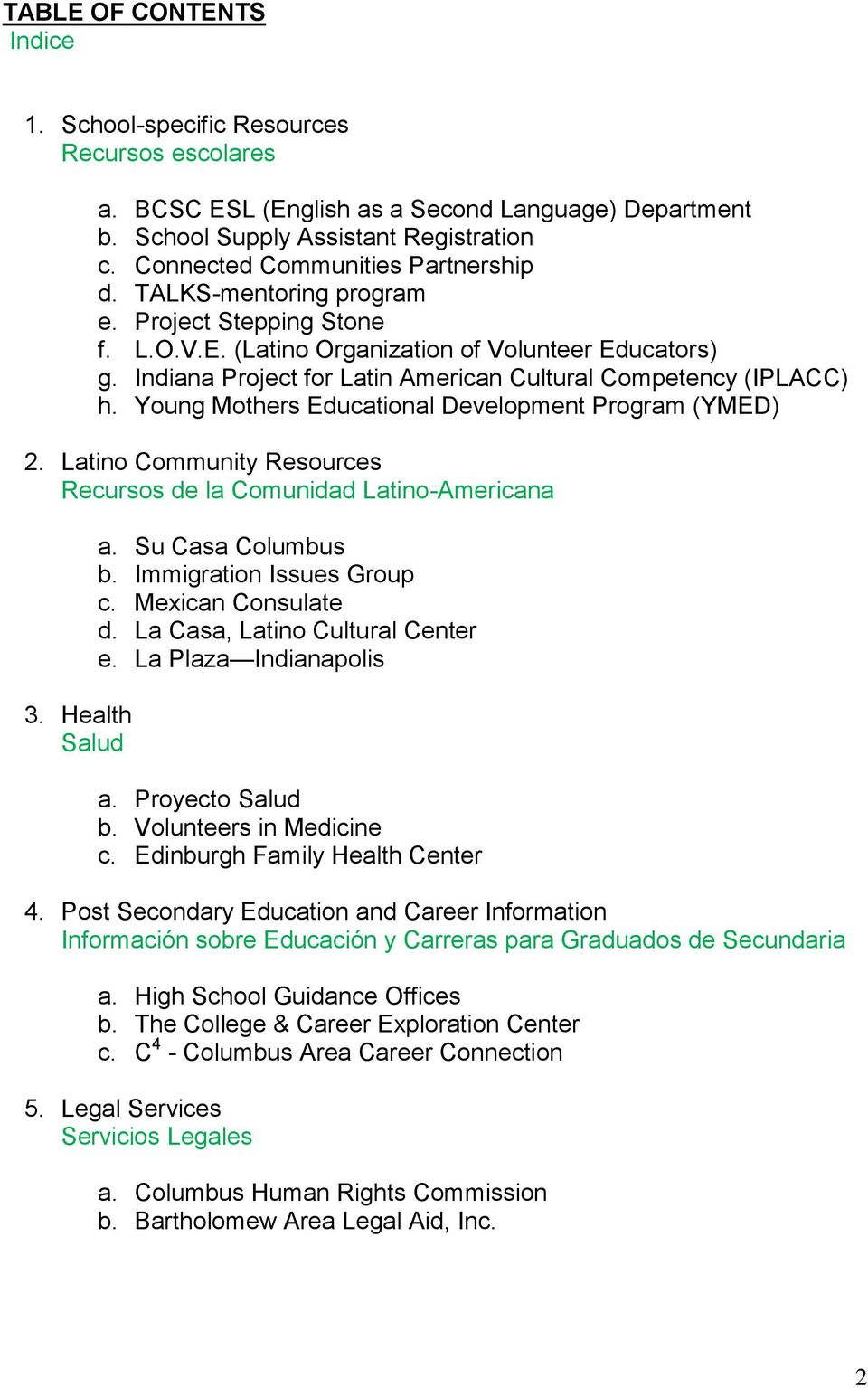 Indiana Project for Latin American Cultural Competency (IPLACC) h. Young Mothers Educational Development Program (YMED) 2. Latino Community Resources Recursos de la Comunidad Latino-Americana 3.