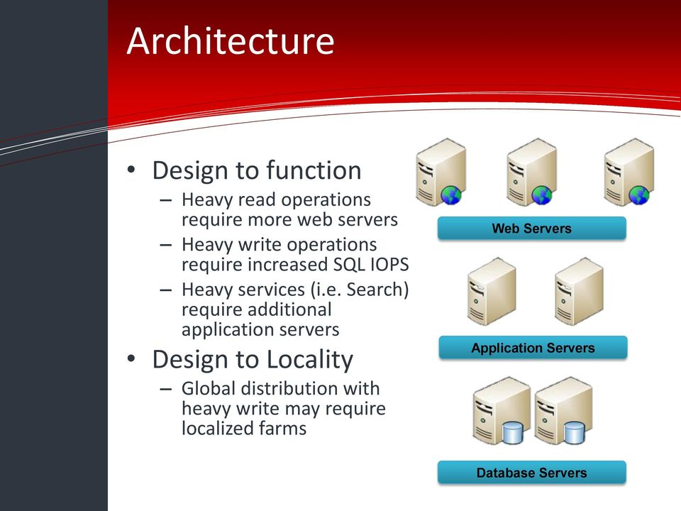 (i.e. Search) require additional application servers Design to Locality Global