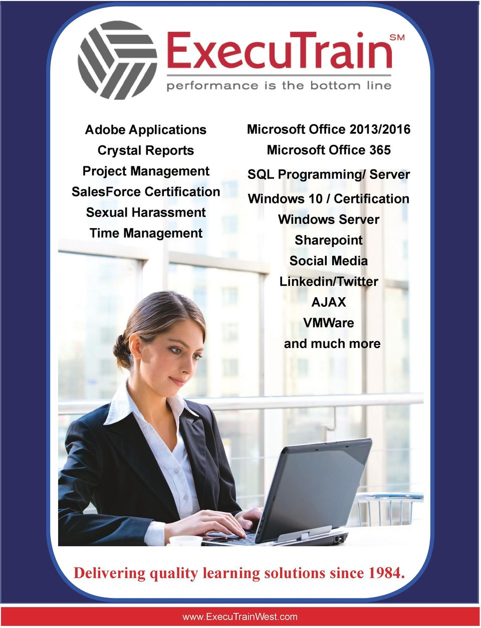 Server Sharepoint Social Media Linkedin/Twitter AJAX VMWare and much more Course Catalog Delivering Visit our