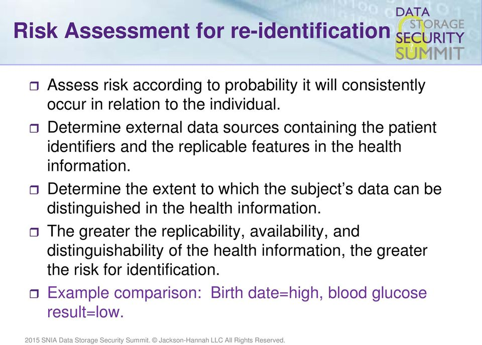 Determine the extent to which the subject s data can be distinguished in the health information.