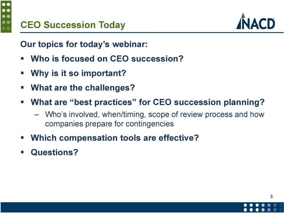 What are best practices for CEO succession planning?