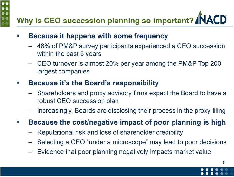 PM&P Top 200 largest companies Because it s the Board s responsibility Shareholders and proxy advisory firms expect the Board to have a robust CEO succession plan