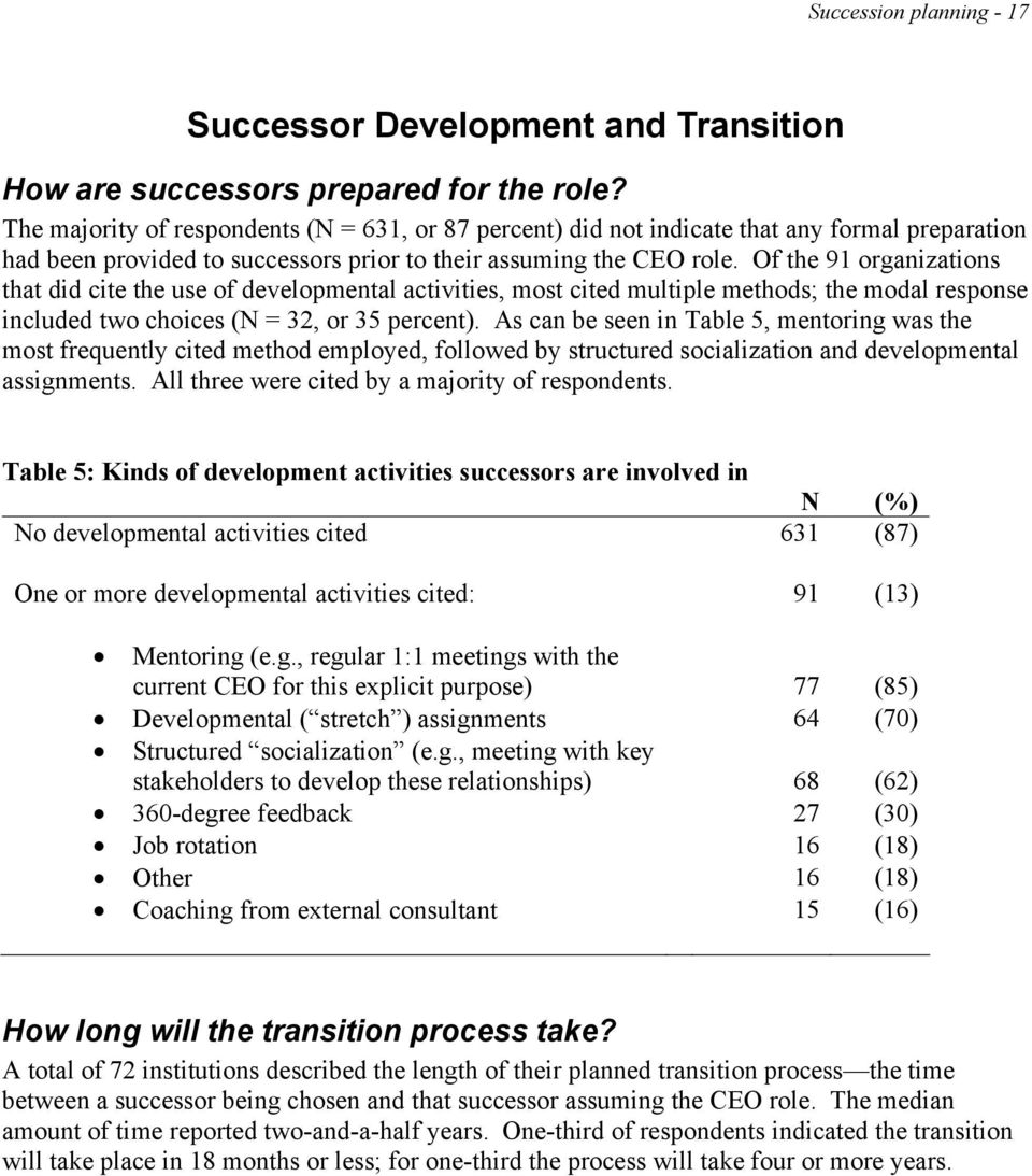 Of the 91 organizations that did cite the use of developmental activities, most cited multiple methods; the modal response included two choices (N = 32, or 35 percent).