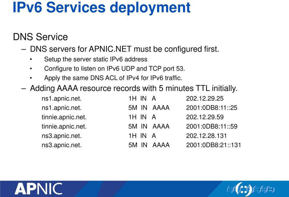 Apply the same DNS ACL of IPv4 for IPv6 traffic. Adding AAAA resource records with 5 minutes TTL initially. ns1.apnic.net.