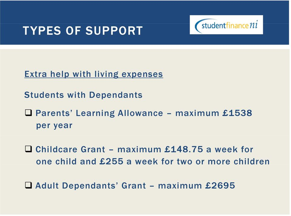 Childcare Grant maximum 148.