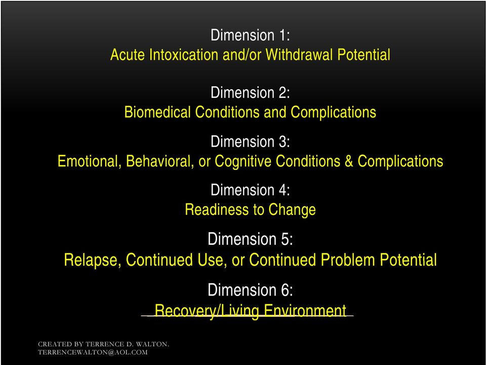 Cognitive Conditions & Complications Dimension 4: Readiness to Change Dimension 5: