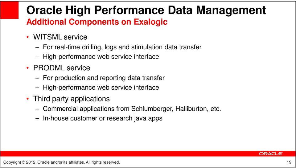 production and reporting data transfer High-performance web service interface Third party applications