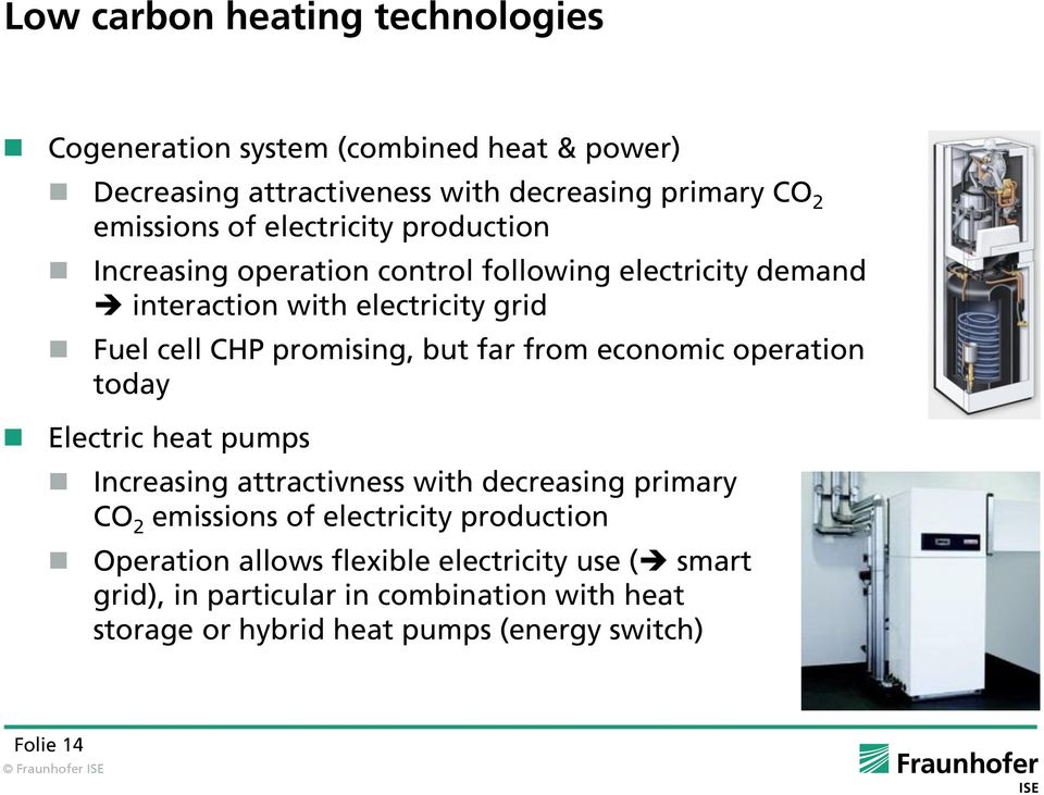 far from economic operation today Electric heat pumps Increasing attractivness with decreasing primary CO 2 emissions of electricity production