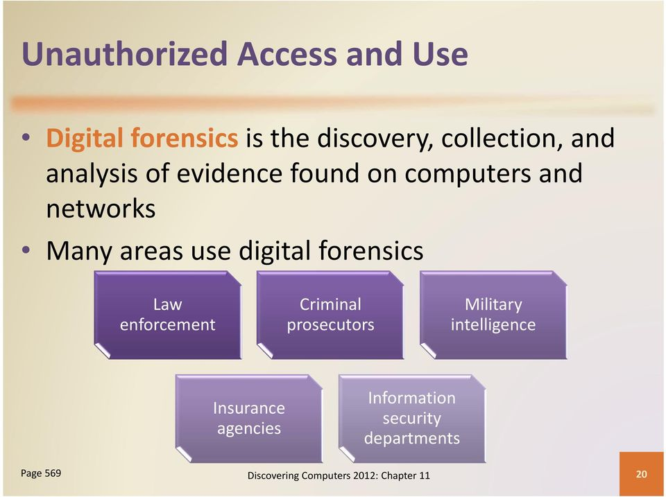 forensics Law enforcement Criminal prosecutors Military intelligence Insurance