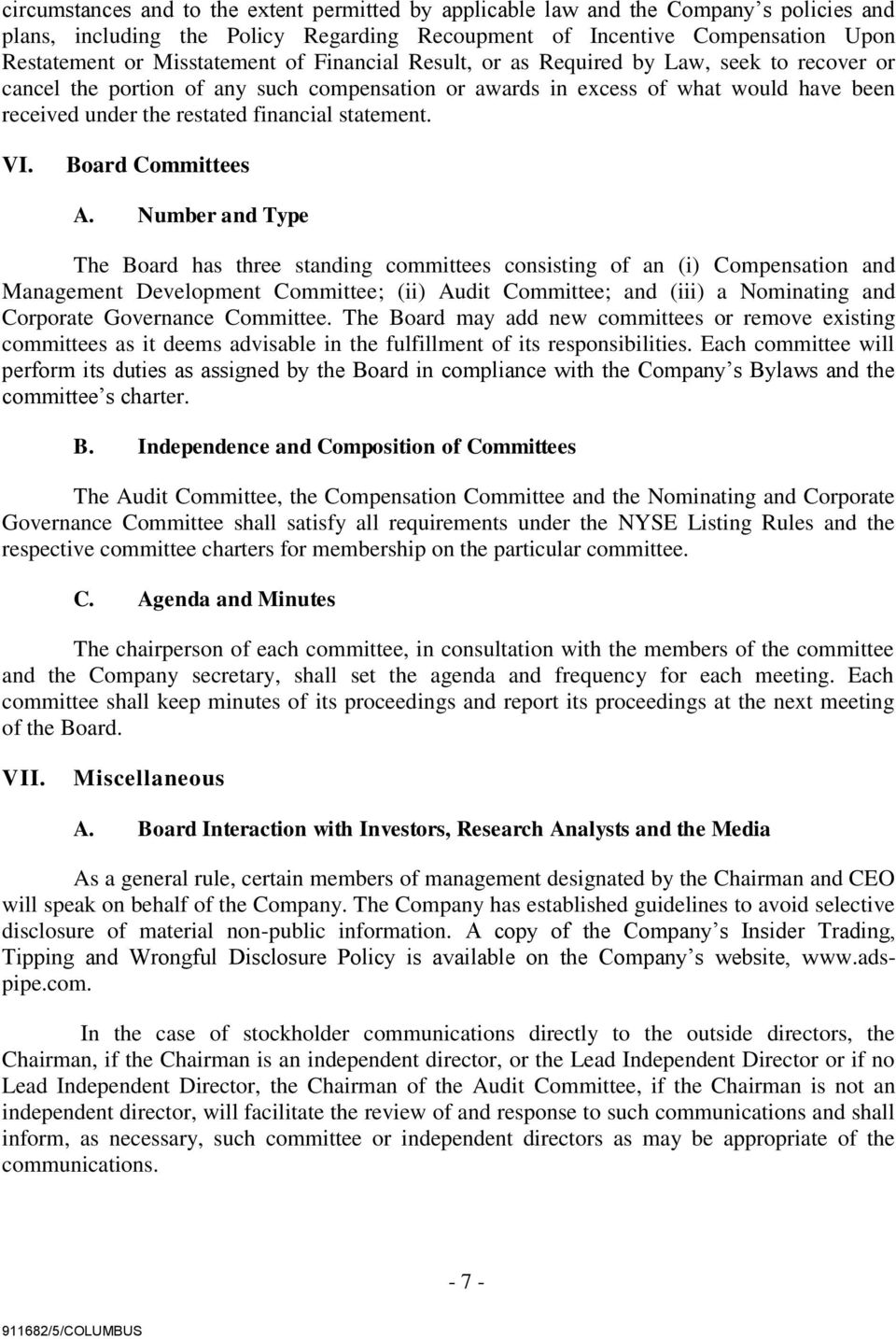 VI. Board Committees A.