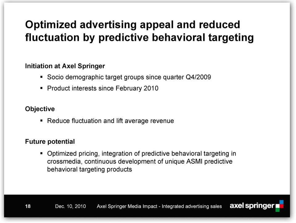 average revenue Future potential Optimized pricing, integration of predictive behavioral targeting in crossmedia, continuous