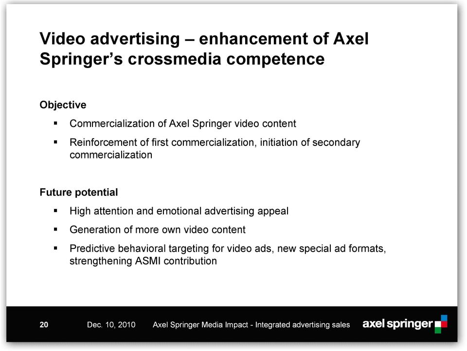 and emotional advertising appeal Generation of more own video content Predictive behavioral targeting for video ads, new