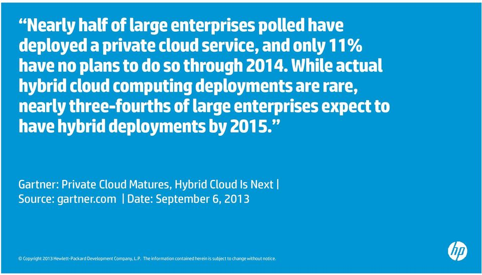 While actual hybrid cloud computing deployments are rare, nearly three-fourths of large
