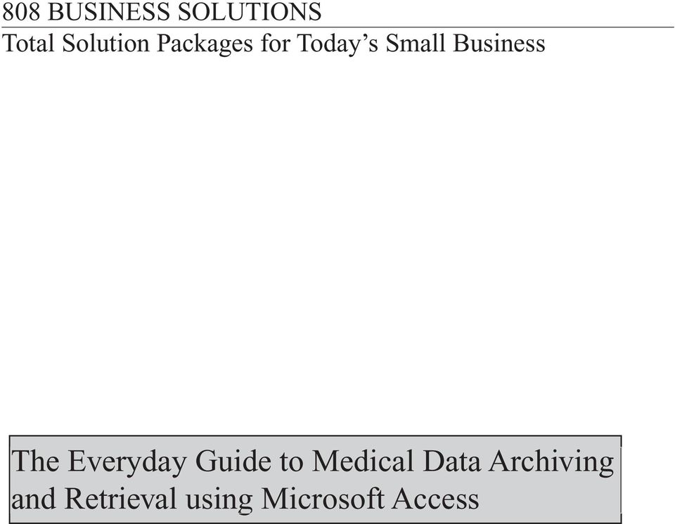 Everyday Guide to Medical Data
