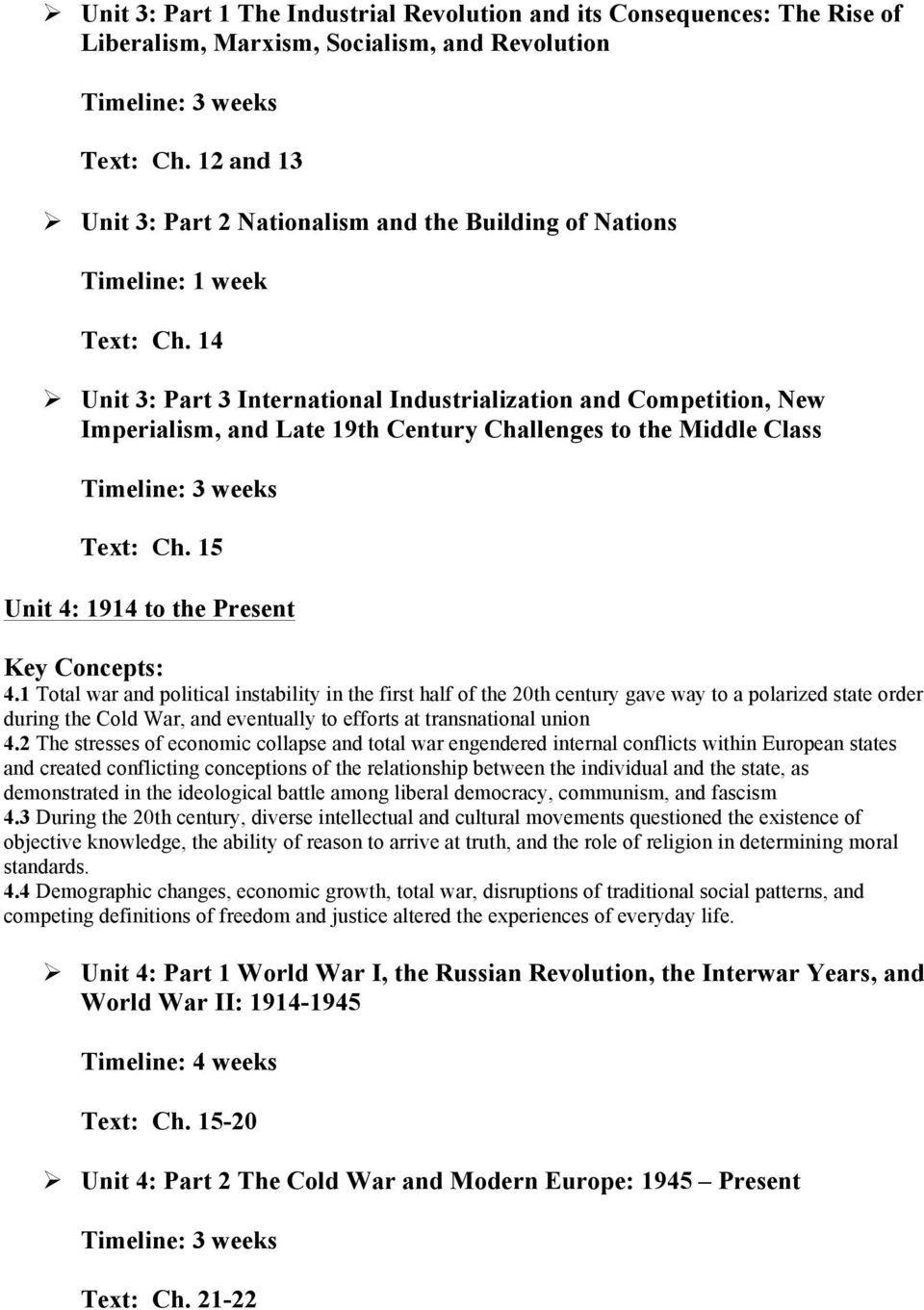 14 Ø Unit 3: Part 3 International Industrialization and Competition, New Imperialism, and Late 19th Century Challenges to the Middle Class Text: Ch. 15 Unit 4: 1914 to the Present 4.