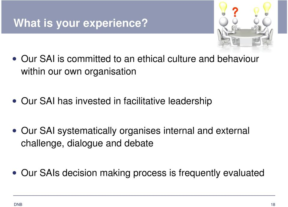 organisation Our SAI has invested in facilitative leadership Our SAI