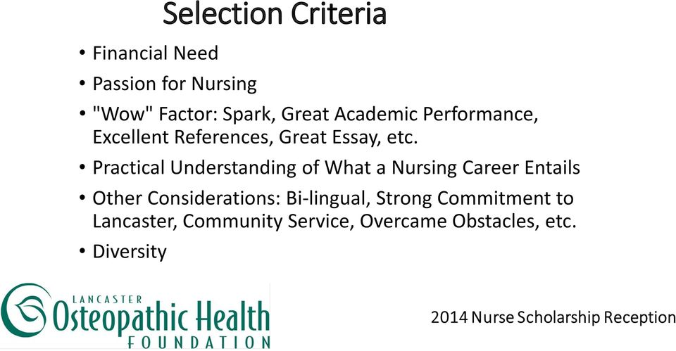 Practical Understanding of What a Nursing Career Entails Other Considerations:
