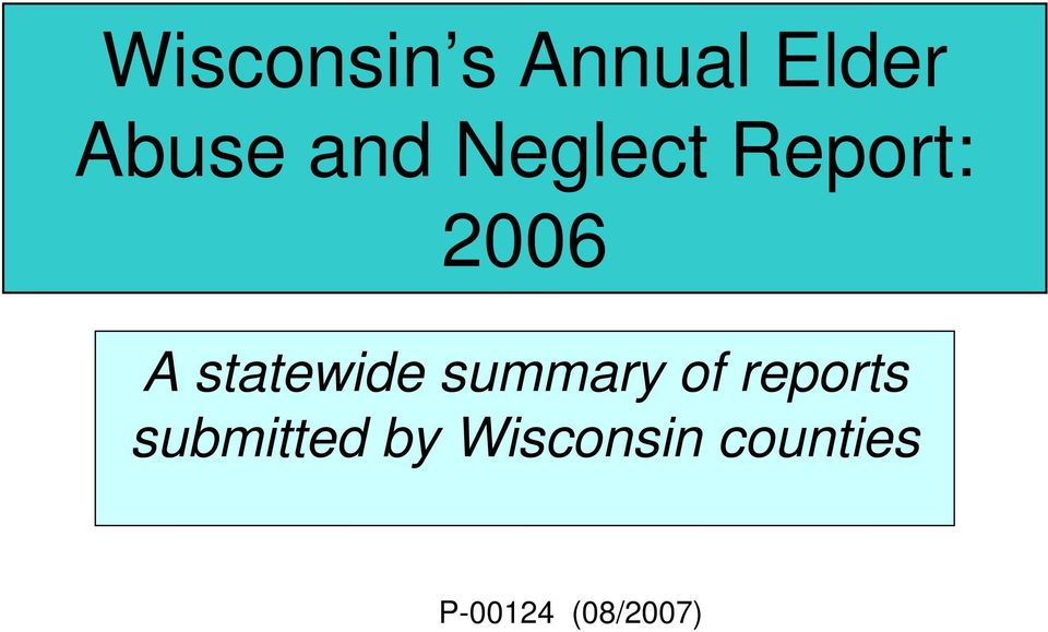 statewide summary of reports