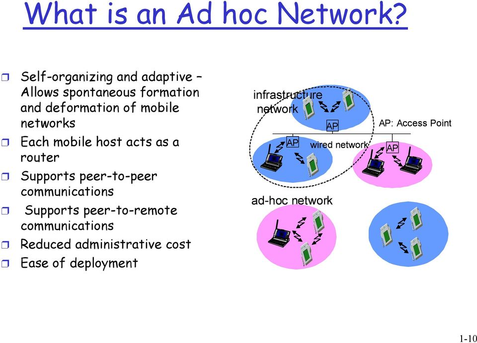 networks Each mobile host acts as a router Supports peer-to-peer communications Supports