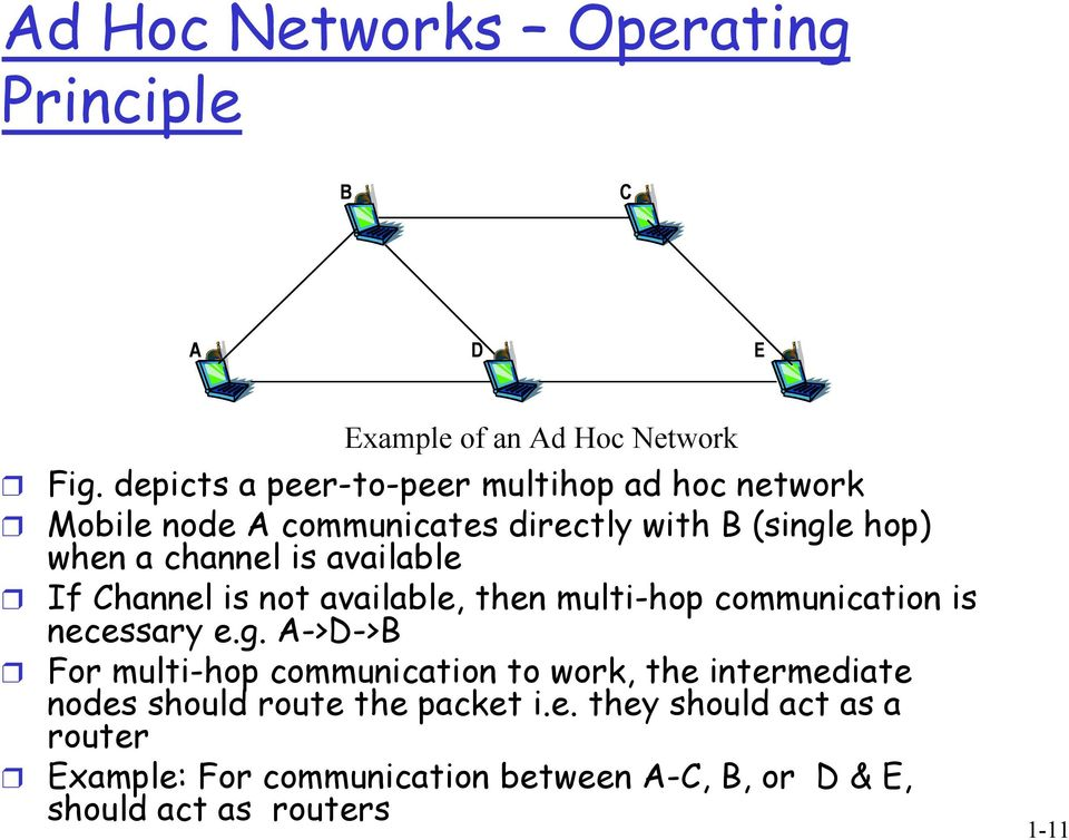 available If Channel is not available, then multi-hop communication is necessary e.g.