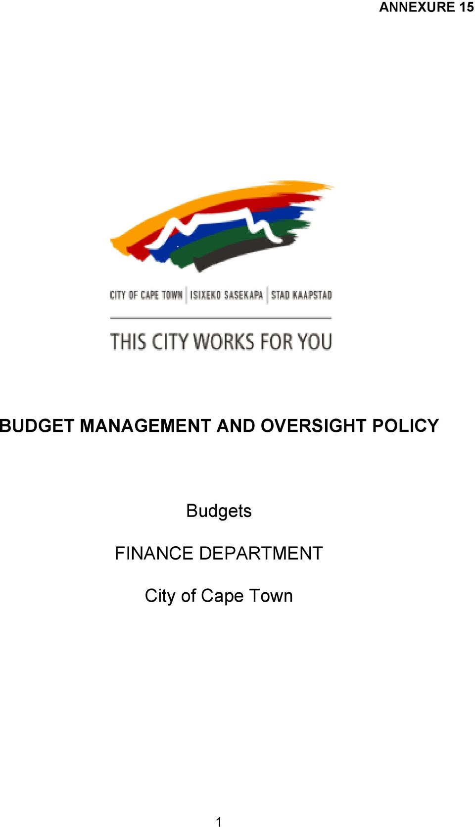 POLICY Budgets FINANCE