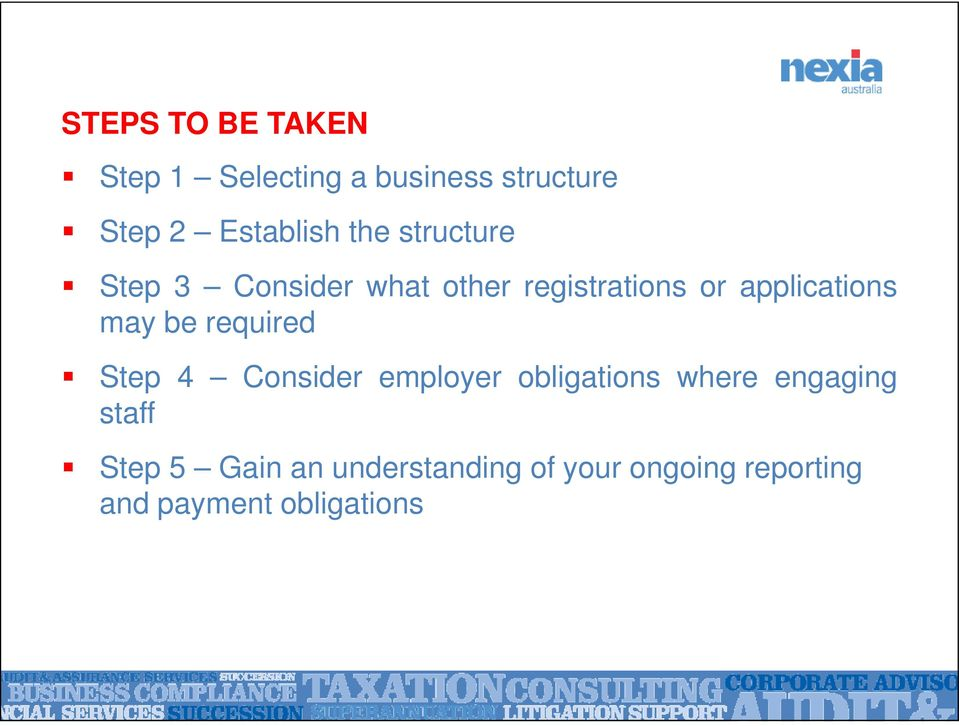 may be required Step 4 Consider employer obligations where engaging staff