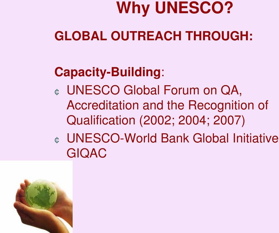 UNESCO Global Forum on QA, Accreditation and the