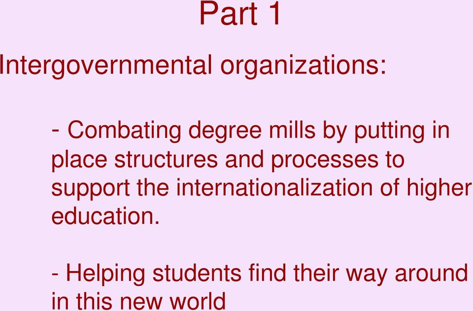 processes to support the internationalization of higher