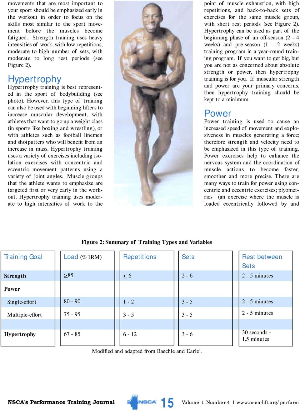 Hypertrophy Hypertrophy training is best represented in the sport of bodybuilding (see photo).