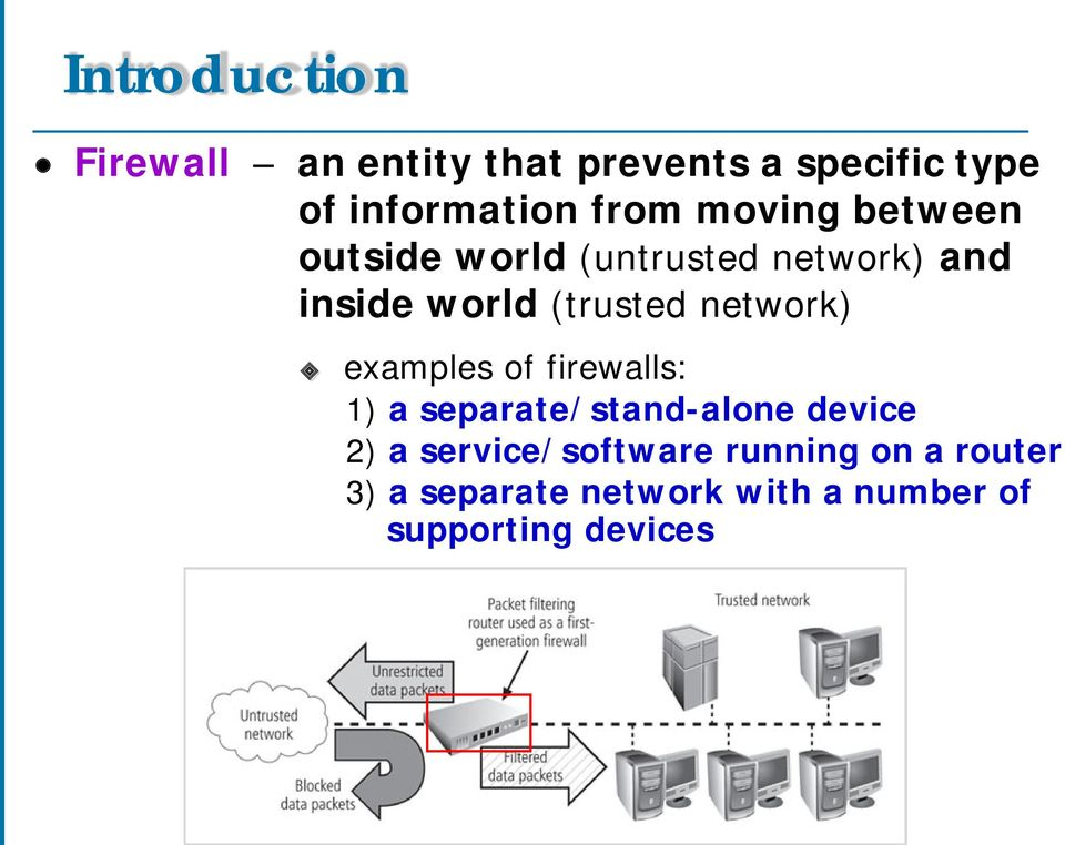 network) examples of firewalls: 1) a separate/stand-alone device 2) a