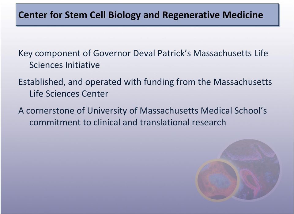 with funding from the Massachusetts Life Sciences Center A cornerstone of